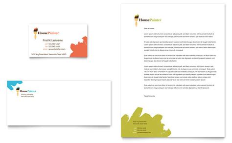 painting contracts templates painter painting contractor business card letterhead