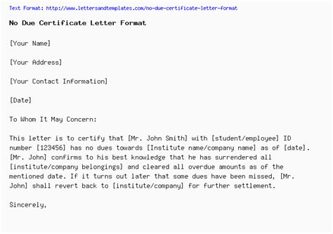 due certificate letter format