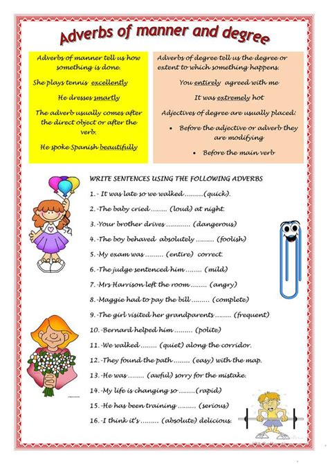 adverbs of manner and degree worksheet free esl