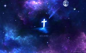 Believe - cross, christian, art, nebula