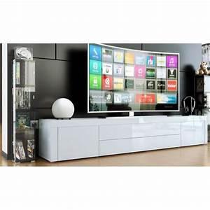 Meuble Bas Blanc Laqué : meuble bas pour tv blanc laqu achat vente meuble tv ~ Edinachiropracticcenter.com Idées de Décoration