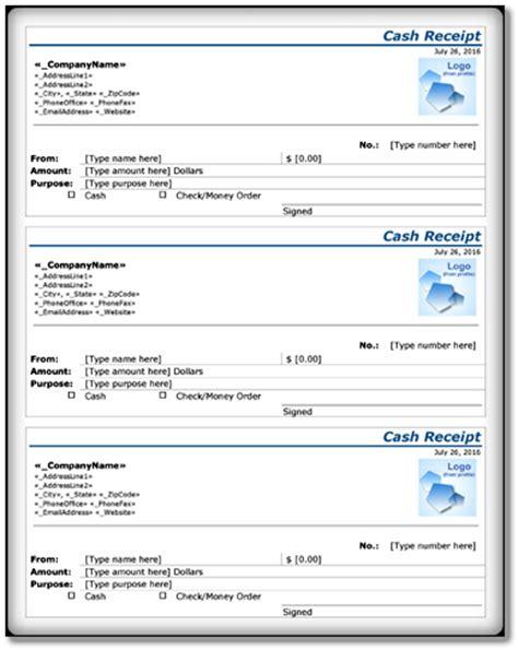 cash receipt template  sample form format  word