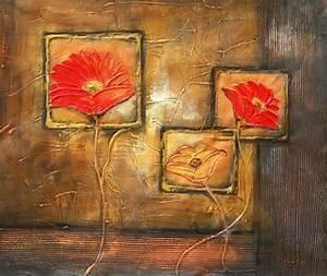 Tableau Fleurs Moderne : tableau contemporain fleurs peinture de fleurs moderne ~ Teatrodelosmanantiales.com Idées de Décoration