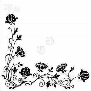 18 Black And White Flower Border Designs Images - Black ...