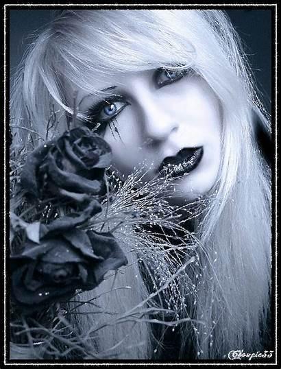 Femme Gothique Rose Noir Portrait Fille Belles