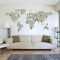 nice world map wall decals LARGE World Map Wall Decal Sticker 7ft x 3.47ft Vinyl Wall