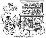 Smurfs Coloring Smurf Baker Printable Colouring Cake Bread Smurfette Drawing Baking Village Characters Draw Bubby Improve Sad Teenage Ladies sketch template