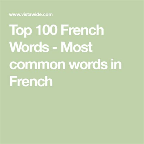 Top 100 French Words - Most common words in French ...