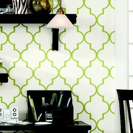 Trellis Wallpaper Green Double Roll  Ballard Designs
