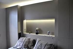 Dressing Autour Du Lit : combinaison t te de lit placard niche fond verre laqu et ~ Premium-room.com Idées de Décoration