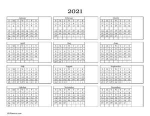 16+ Month At A Glance Printable Calendar 2021  Gif