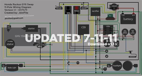 wiring diagram for a gy6 with honda ruckus scooters honda ruckus honda and