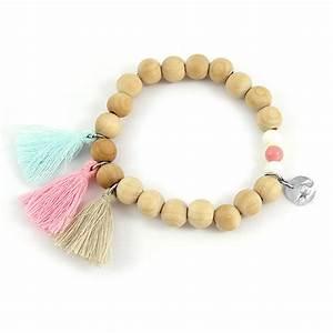 Comment Faire Un Bracelet En Perle : bracelet lastique perles en bois pompons et sequin toile perles co ~ Melissatoandfro.com Idées de Décoration