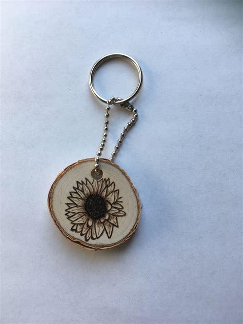 sunflower keychain sunflower decor gifts  mom wooden