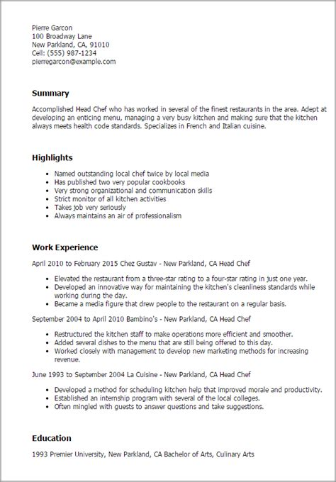 professional chef resume sle 28 images banquet chef