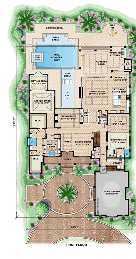 house plans with swimming pools house plan 75913 at familyhomeplans com