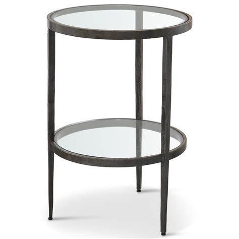 glass and iron table stout industrial loft double glass shelf iron brass side