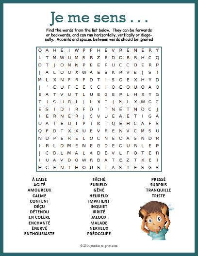 french feelings word search
