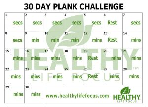 day plank challenge printable calendar