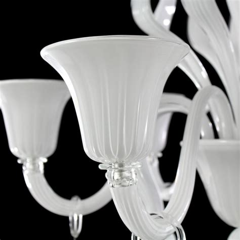 6 lights murano glass white chandelier