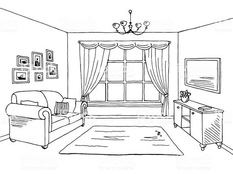 living room drawing living room graphic black white interior sketch