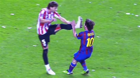 players hunting  lionel messi horror tackles brutal