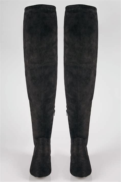 black xl calf   knee boots  block heel  true