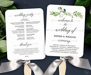 Garden greenery wedding fan program printable wedding fan program template diy greenery for Diy wedding program fans template