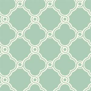 White with Green Open Trellis Wallpaper