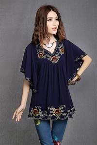 Fashion Mexican Ethnic Floral EMBROIDERY Hippie Blouse ...