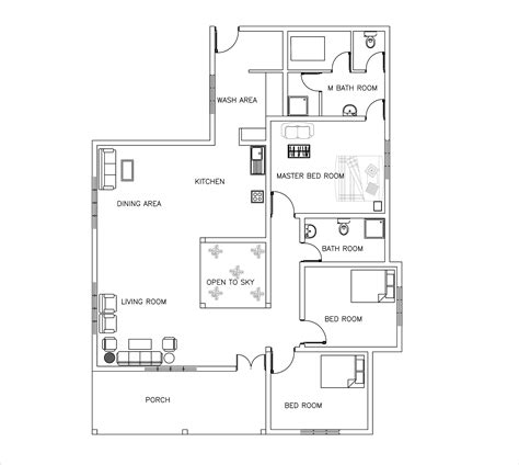 single story three bed room house plan dwgnet com