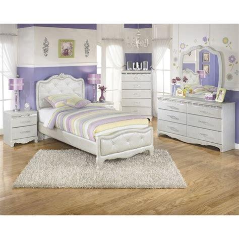 Ashley Zarollina 6 Piece Faux Croc Leather Twin Bedroom