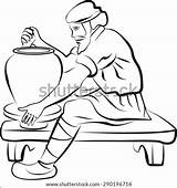 Potter Wheel Potters Drawing Preterm Birth Coloring Doctor Vector Shutterstock Checking Premature Illustration Jar sketch template