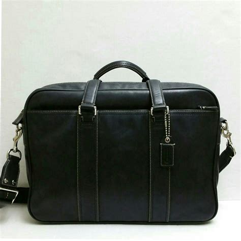 Coach Briefcase Black Leather Laptop Bag Tradesy