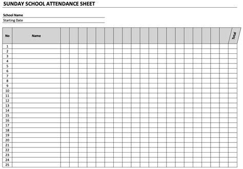 sunday school attendance sheet exceltemplatenet