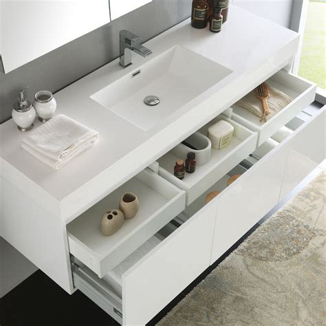 Modern Bathroom Single Sink Vanity by Convenience Boutique Fresca Mezzo 59 Quot White Wall Hung