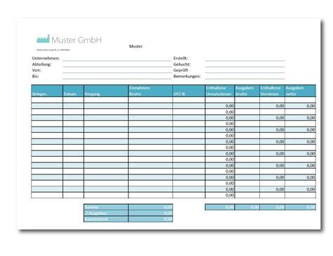 kassenbuch vorlage als excel  kostenlos downloaden