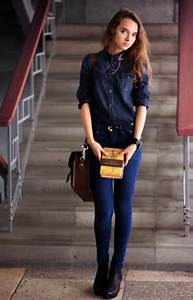 Womenu0026#39;s Navy Denim Shirt Blue Skinny Jeans Black Leather Ankle Boots Dark Brown Leather ...