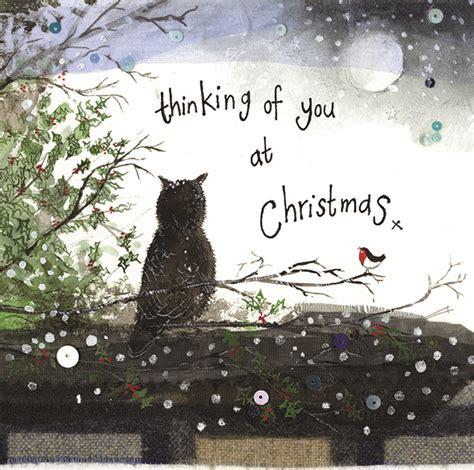 thinking   owl  robin christmas card alex clark art