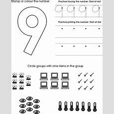 Number Nine Worksheet  Free Preschool Printable