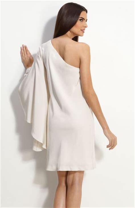 One Shoulder Drape Sleeve Dress - miller drape sleeve one shoulder dress in white