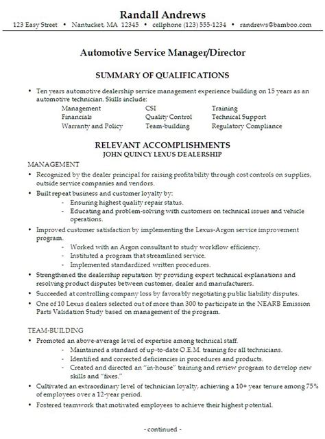 Auto Resume Writer by Sle Resume For Someone Seeking A As An Automotive