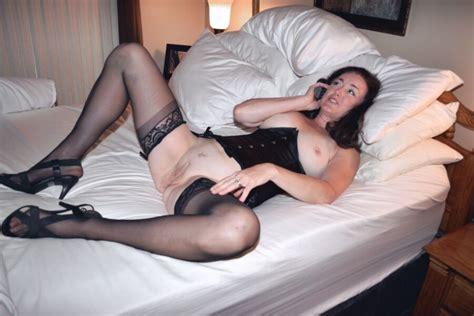 Mature Brunette Wife Hotel Room High Heels Stockings Blowjob