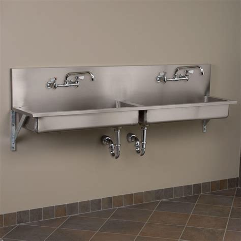 wall mount kitchen sink 72 quot double bowl stainless steel wall mount commercial sink