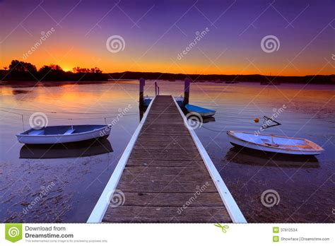 Boat Mooring Brisbane by Sunset Moorings And Boat Jetty In A Cove Australia