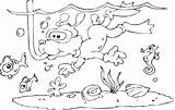 Snorkeling Dog Coloring Lineart sketch template