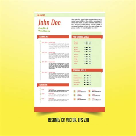 creative resume template with infographic elements vector