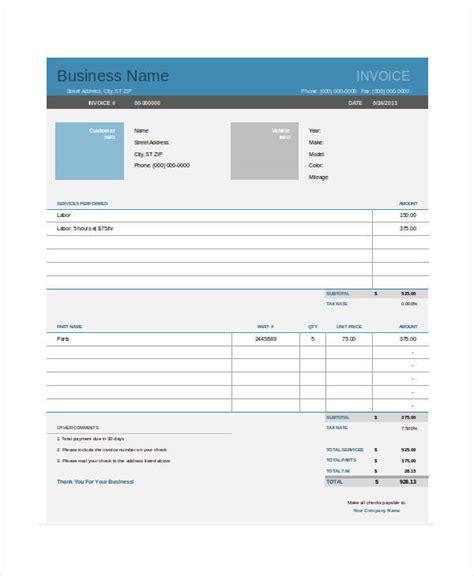 auto repair invoice templates  word  excel