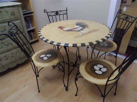 french country rooster table  nest chairs