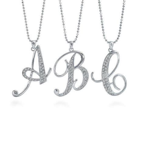berricle silver tone rhinestone initial letter fashion pendant necklace ebay
